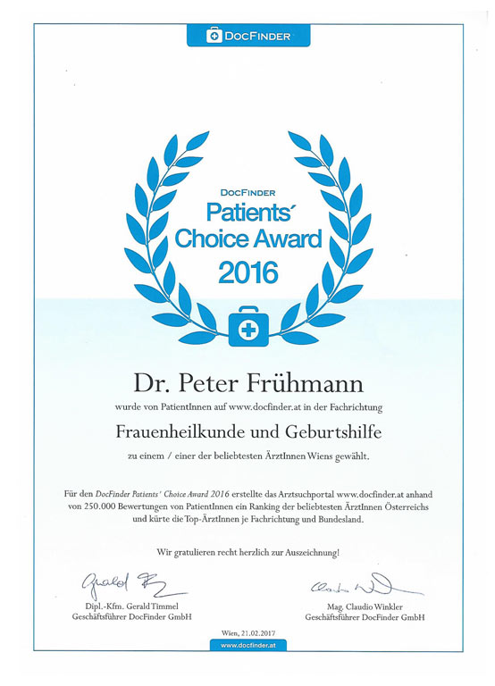 DocFinder Patients´ Choice Award 2016